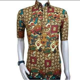 Kemeja Batik Pria Lengan Pendek Katun