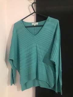 日牌 湖水綠藍 長袖 針織襯衫