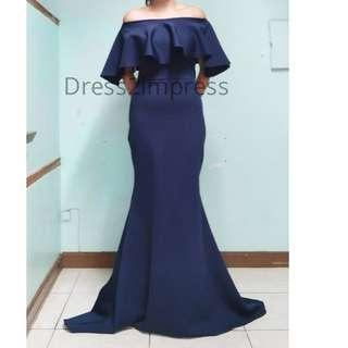 Ariel blue long dress gown offshoulder mermaid serpentina plus size freesize small meduim red black white