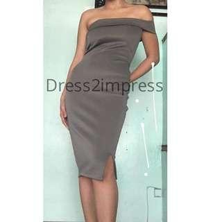 On hand grey gray midi bodycon one sided off shoulder