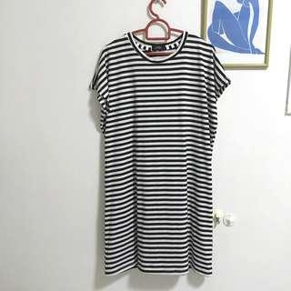 Black and white striped dress with big sleeve opening