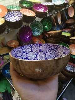 Thai handcrafted/ hand painted coconut bowl