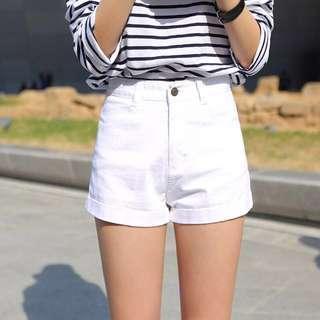 Ulzzang white denim shorts