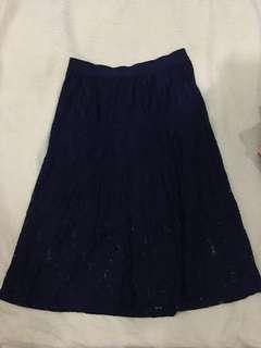 Lace navy blue knee length dress