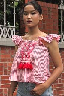 Red Stripe Tassel Floral Top