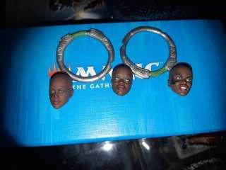 ML Marvel Legends Dora Milaje 3 Heads with 2 Sickles Hasbro NOT Toybiz Toy biz M'baku Mbaku T'chaka Black Panther Suri