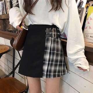 ulzzang black white checkered skirt