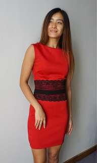 Simple Red Dress with Lace