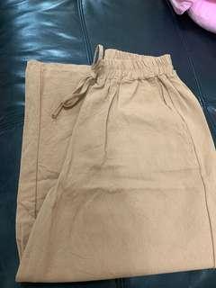 啡色 橡筋褲頭闊腳褲