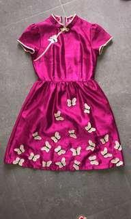 🚚 CNY Mandarin Collar Pink Butterfly Dress - XS