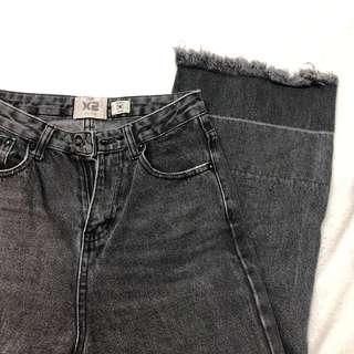 🚚 灰黑刷色寬褲