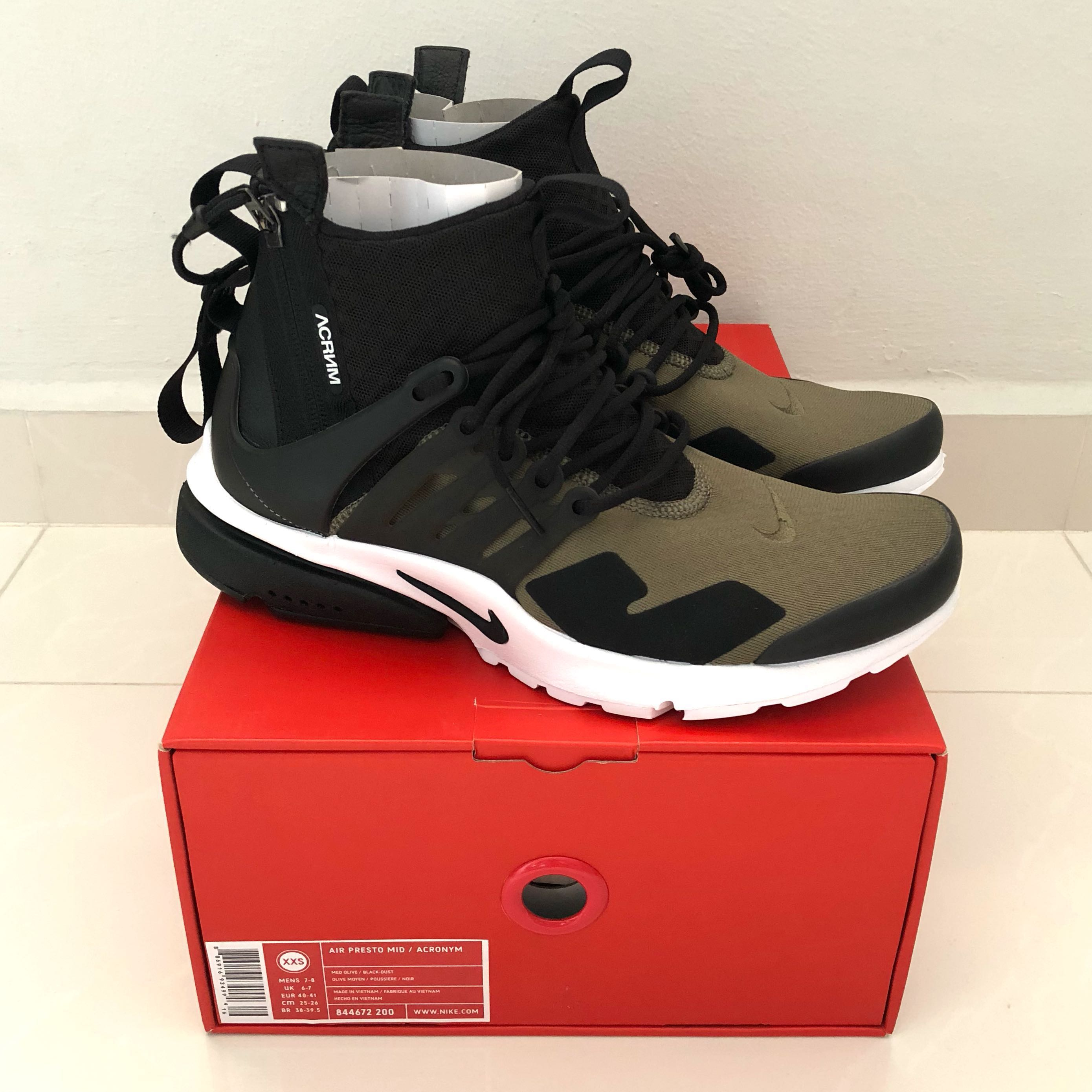 d848960af4 Acronym x Nike Air Presto Mid 'Olive', Men's Fashion, Footwear, Sneakers on  Carousell