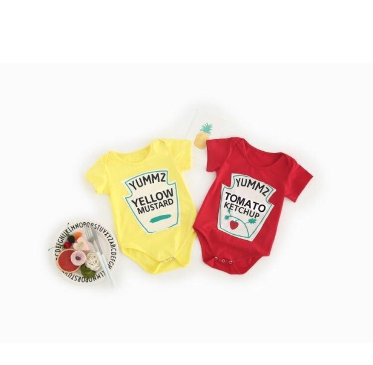 f2a8a41f4 BN Baby Tomato Ketchup   Yellow Mustard Bodysuit  Romper 0-12mths ...