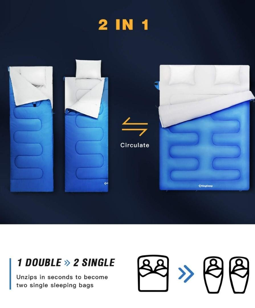 BRAND NEW: Double Camping Sleeping Bag w/ 2 Pillows & Compression Sack