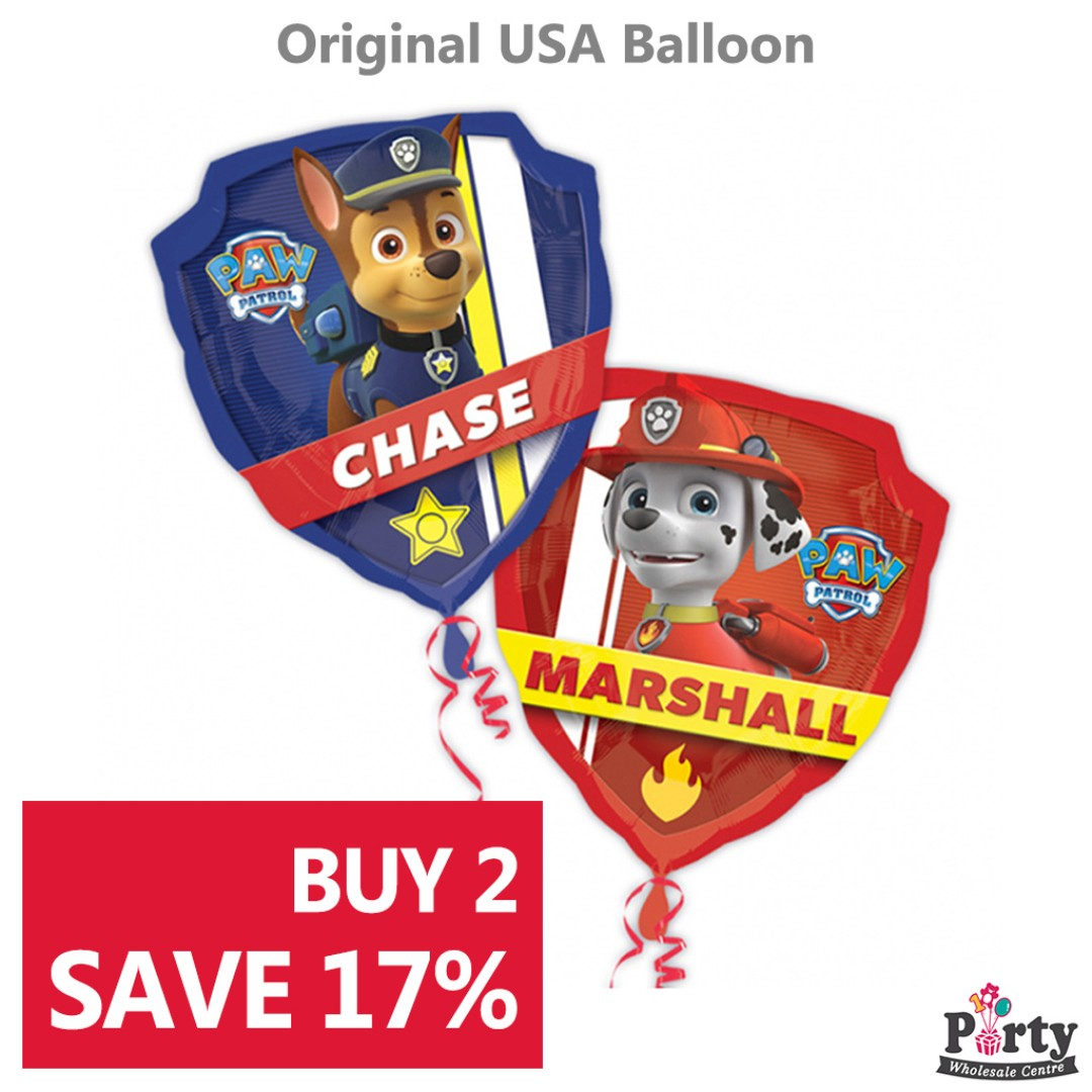 BUY 2 SAVE 17 Paw Patrol Chase And Marshall Foil Balloon 25inch