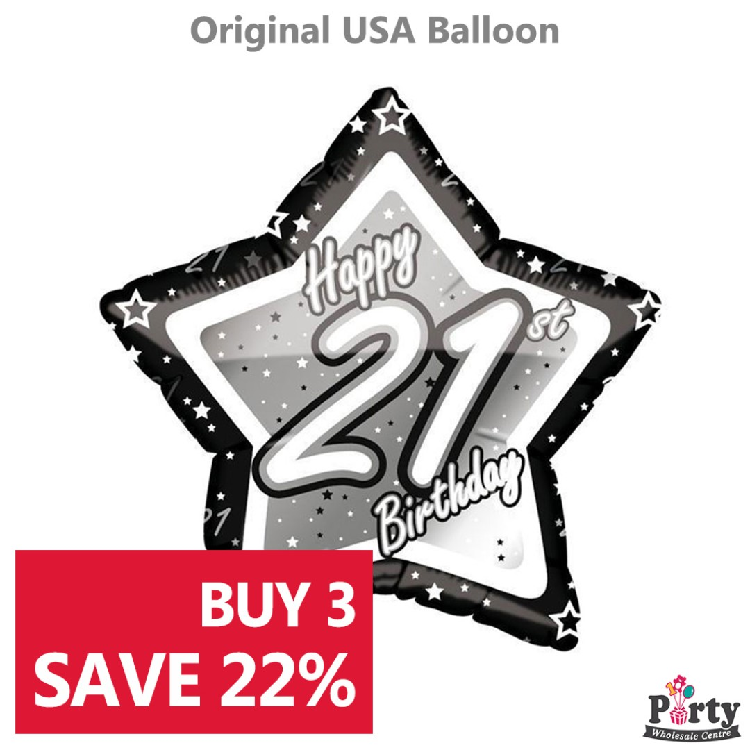 BUY 3 SAVE 22 21st Birthday Black White Foil Balloon 18inch Party