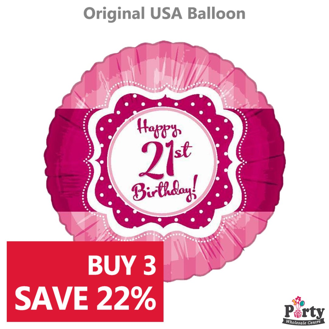 BUY 3 SAVE 22 21st Birthday Pink Foil Balloon 18inch Happy