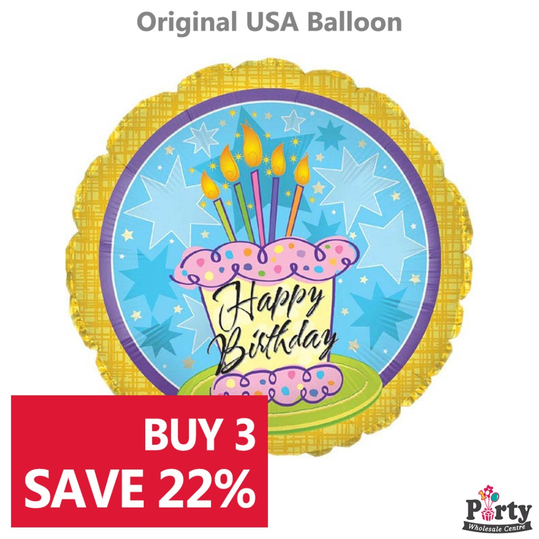BUY 3 SAVE 22 Happy Birthday Cake And Stars Foil Balloon 18inch