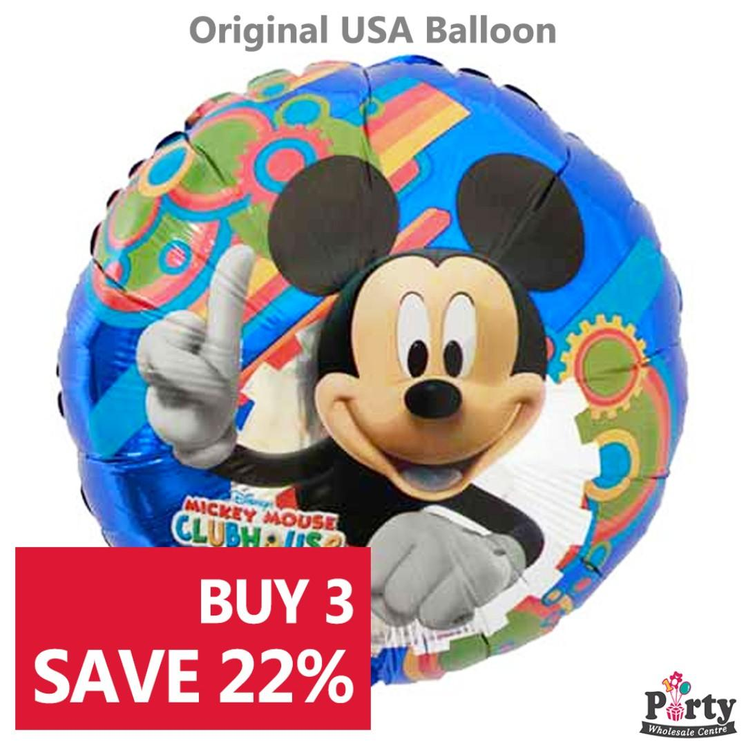 """US SELLER SET OF 2  MICKEY MOUSE CLUBHOUSE 18/""""  BALLOON BIRTHDAY PARTY SUPRISE"""