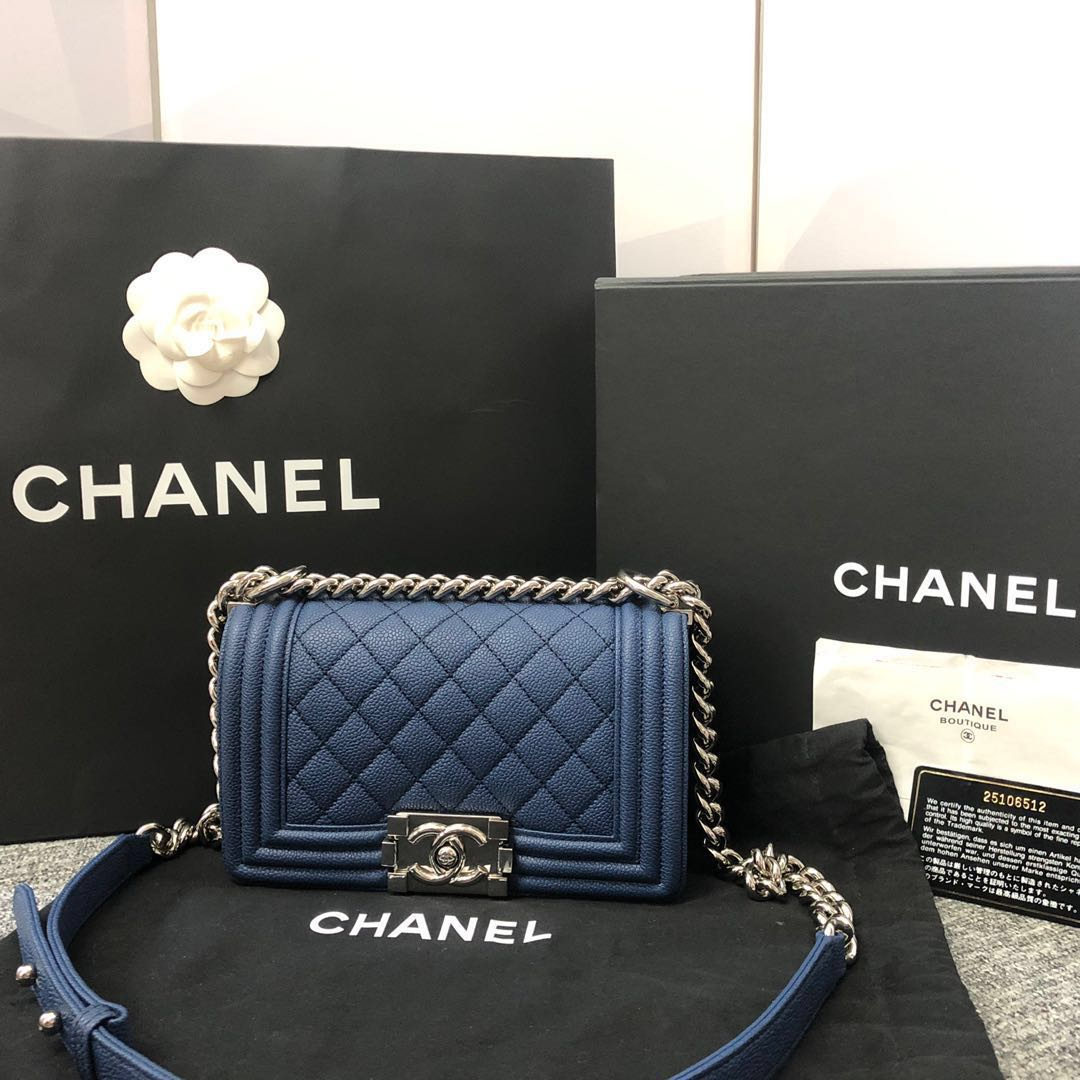 40681e39b1b Chanel Boy Small Caviar Dark blue