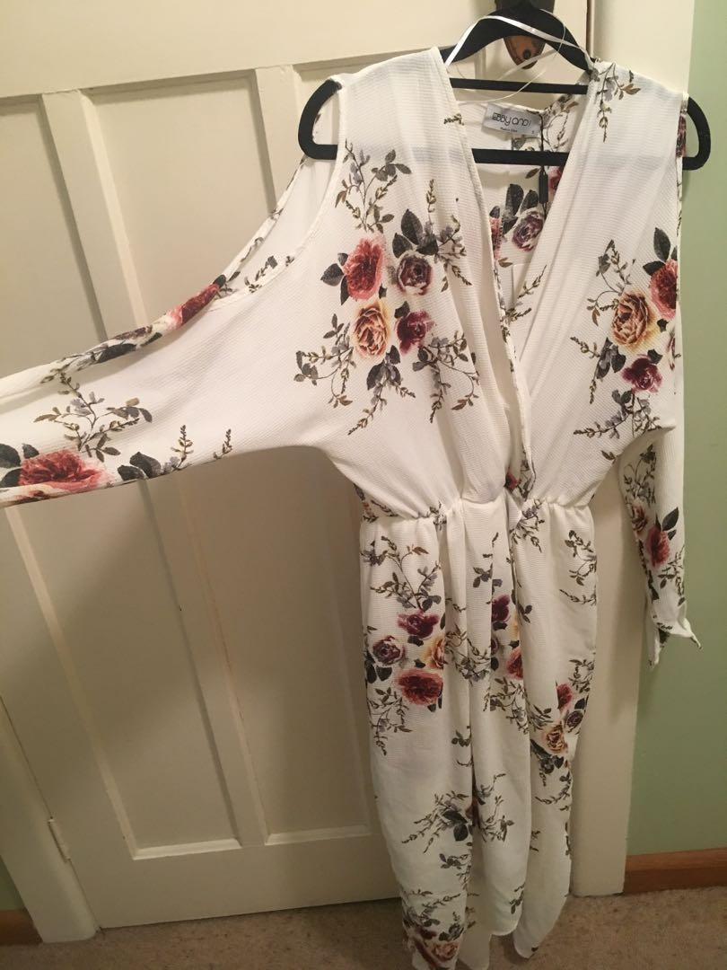 Ebby And I Milk Fashion Boutique Dress Floral White Cut Out Shoulder RRP $249.