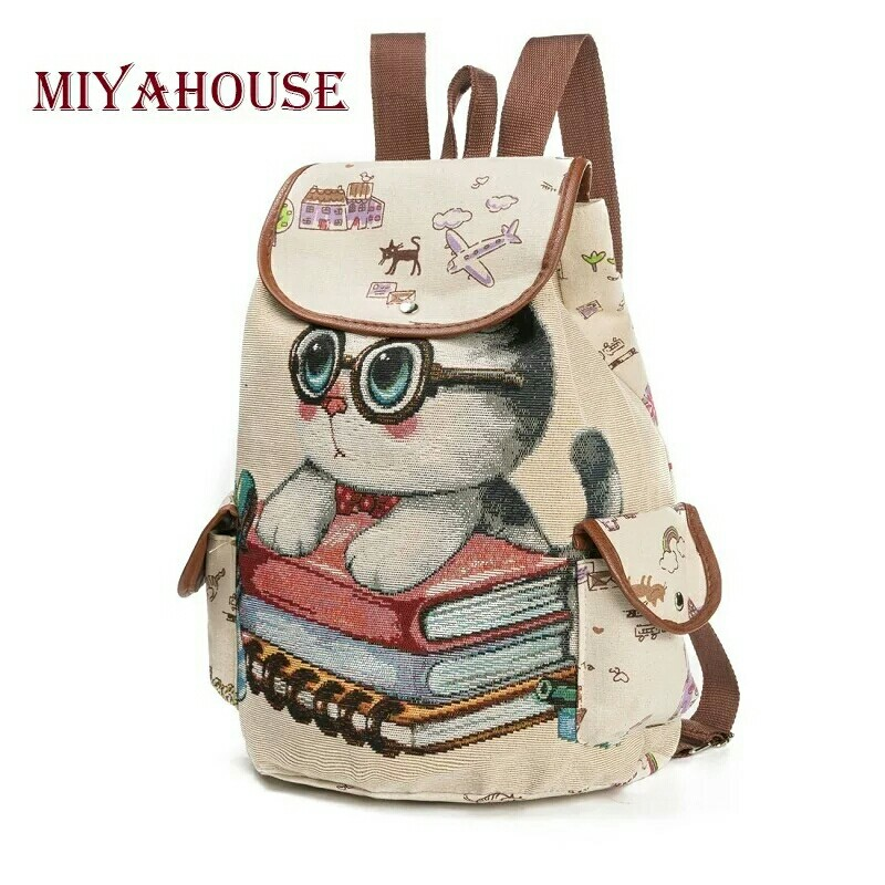 7a4accceeb4c Female Canvas Backpack Cute Cats Print Backpack For Teenage Embroidery  Women Drawstring Backpacks Girls School Bags