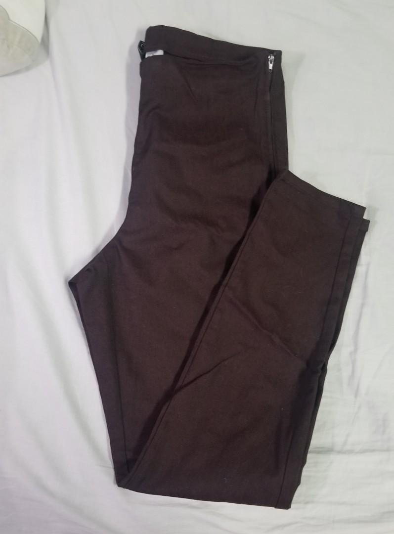 H&M - Size 10 - Burgundy jeggings with zipper on side