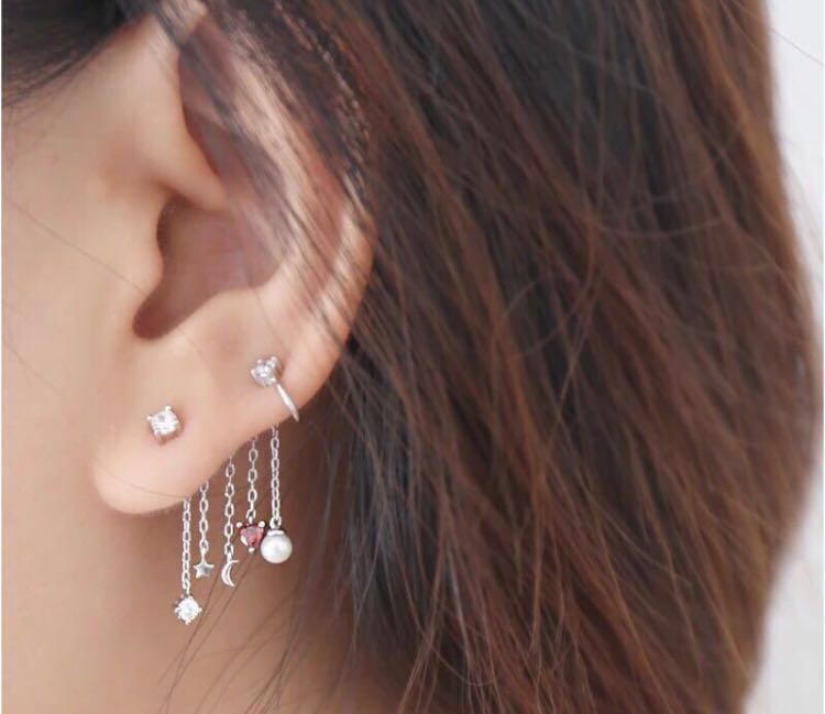 6715cfb15 Japanese tassel love zircon s925 sterling silver pearl earrings star ...