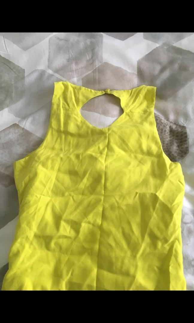 Kookai lime shift dress with grey zig zag hem detail and back cutout