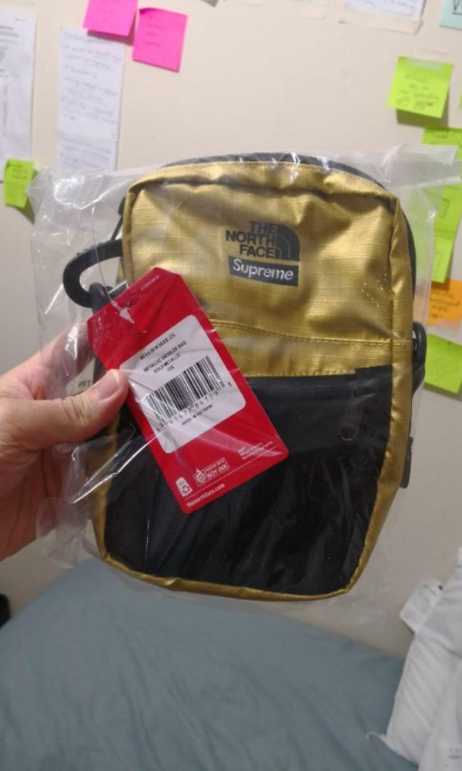dcca8501d Last 1 left) Supreme x North face ss18 shoulder bag metallic gold ...
