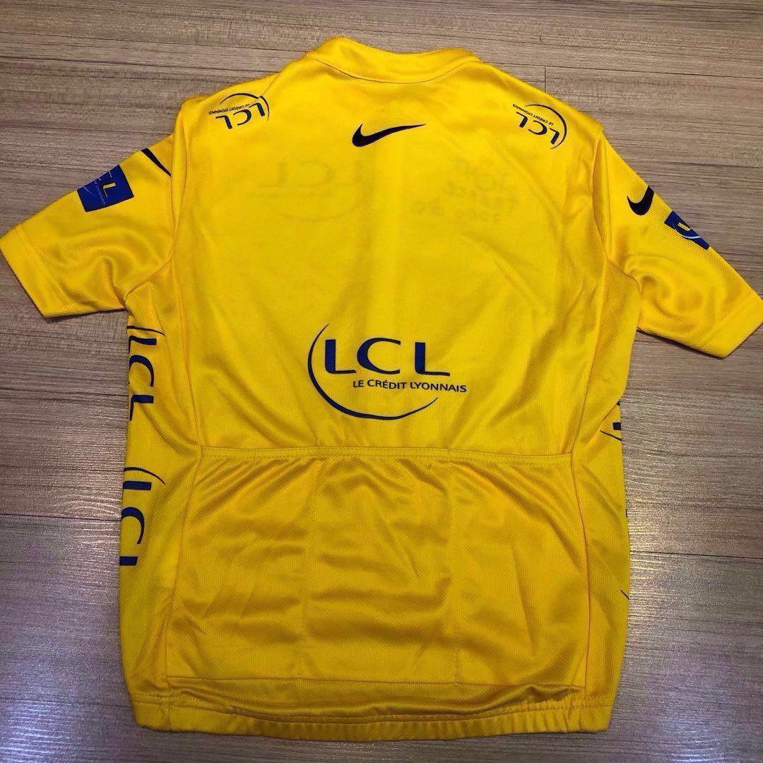 💯LCL Banque Nike Le Tour De France Yellow Bike Kid Cycling Jersey SIZE (M) ef8996575