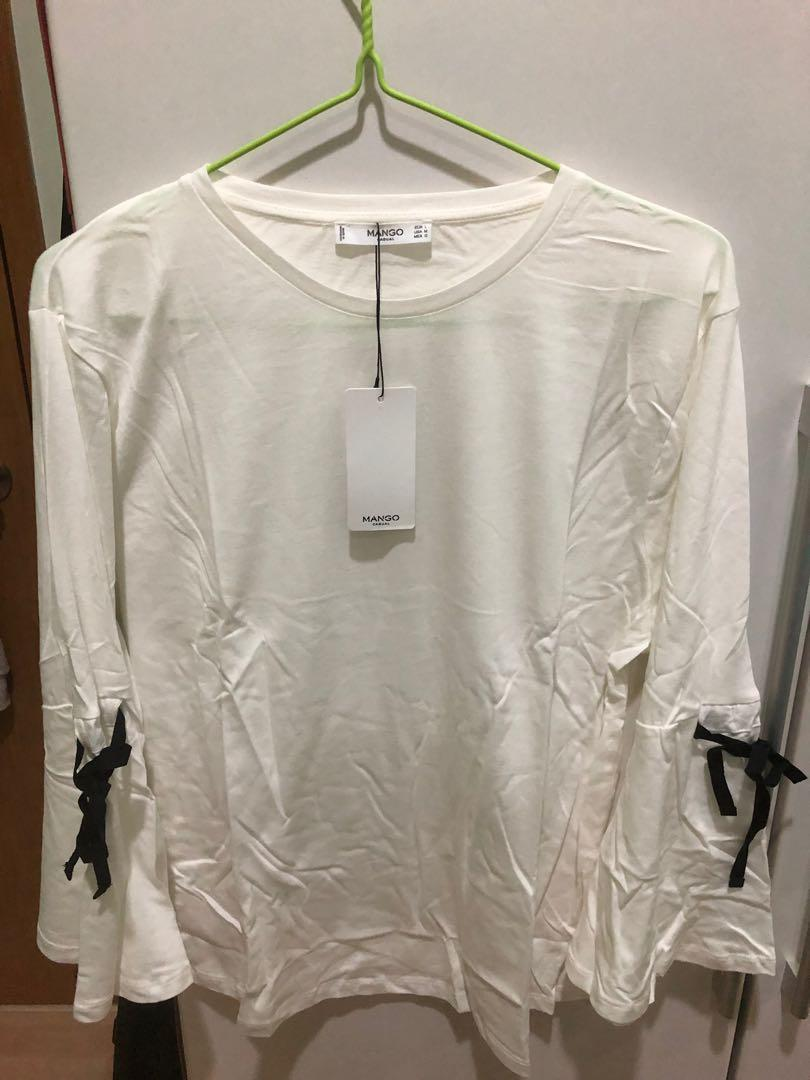 MANGO white top with ribboning on sleeves BNWT