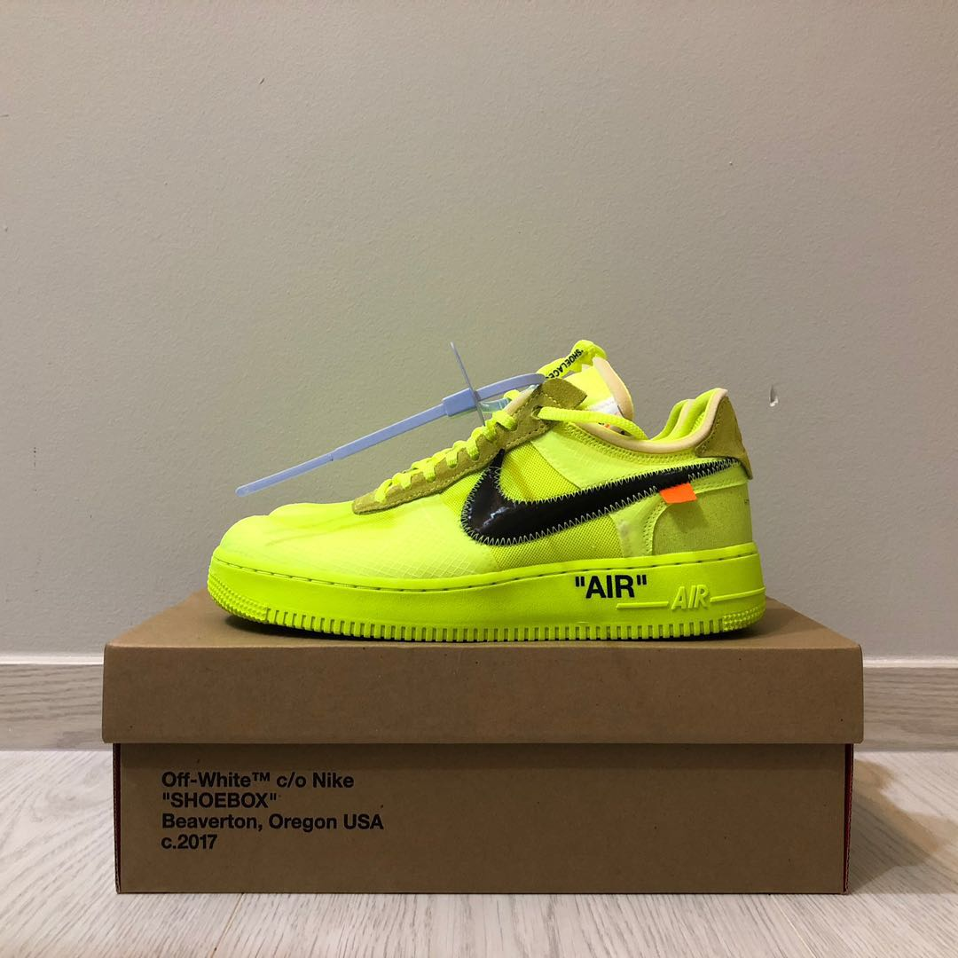 Off White Nike Air Force 1 AF1 Volt Yellow Black 7eb9ed21d