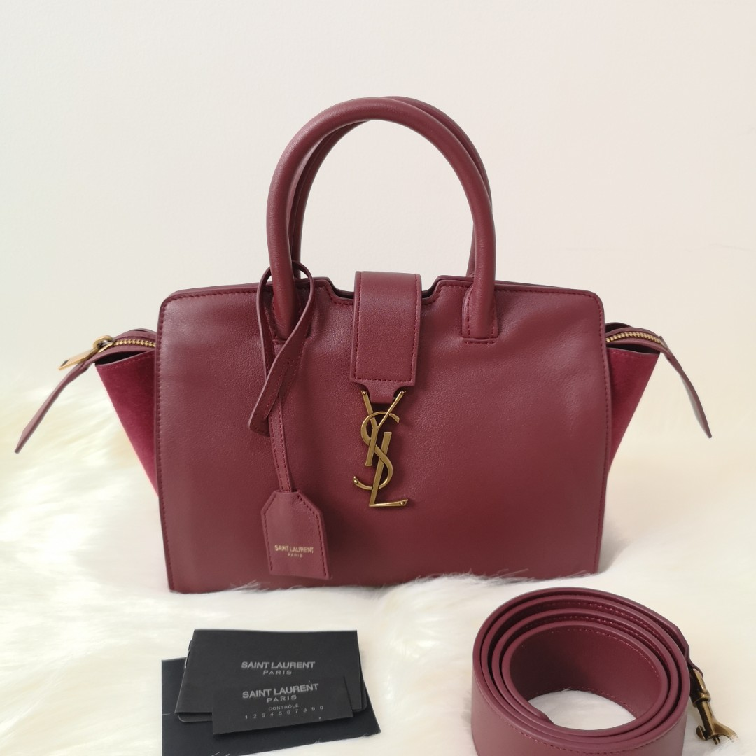 4c164c2ba7 ON HAND  Authentic Yves SAINT LAURENT BABY MONOGRAM DOWNTOWN CABAS BAG IN  WINE RED CALFSKIN AND SUEDE