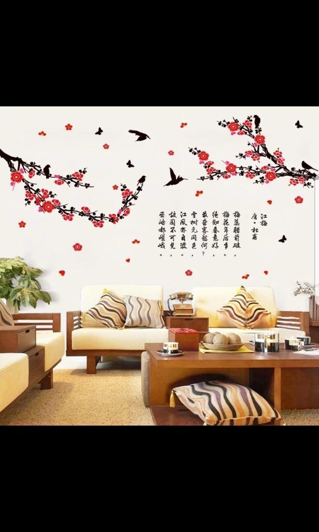 Plum Blossom Branch Wall Sticker Living Room Bedroom Tv Background