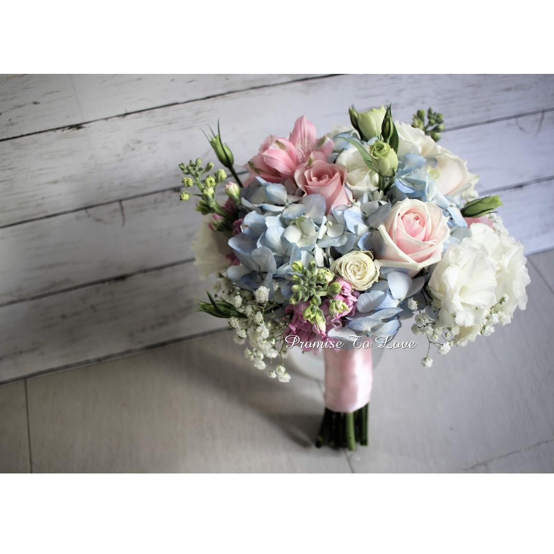 Rustic Fresh Light Blue Light Pink White Bouquet Wedding Rom Bridesmaid Proposal Anniversary Birthday Gardening Flowers Bouquets On Carousell