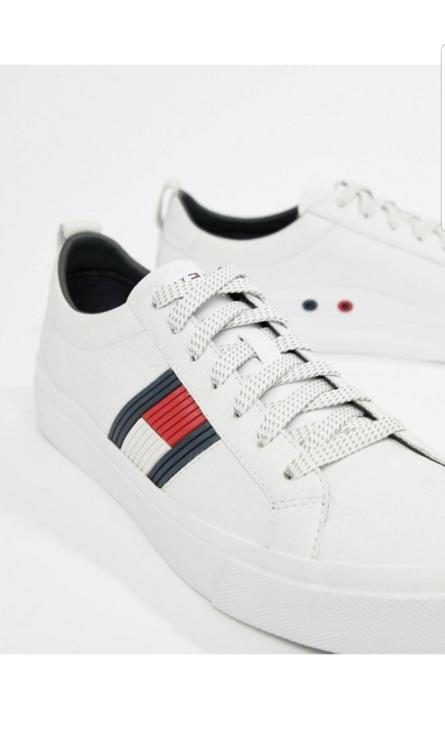 dd0388fc433440 Tommy Hilfiger flag detail leather sneaker in white