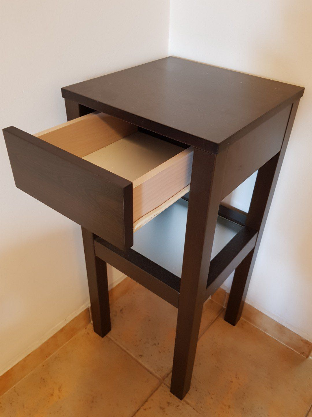 Walnut Tall Side Table With A Drawer And Frosted Glass Furniture