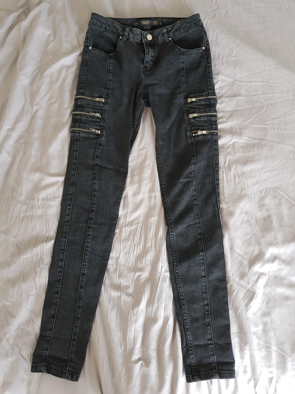 ddb3f7d7 Zara Black Faded Wash Moto Skinny Jeans, Women's Fashion, Clothes ...