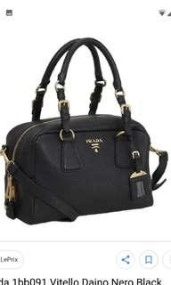 3361e7dbe3ca7c Prada bauletto 1bb091 Vitello Daino Nero Black Top Handle Bag Convertible  Shoulder Bag Satchel