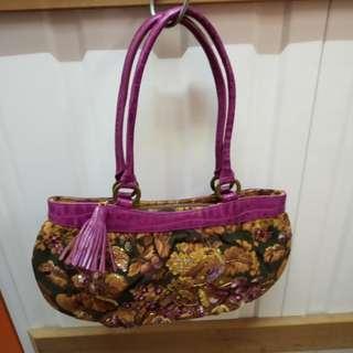 Think Bee Handbag 日本品牌紫色織錦手袋