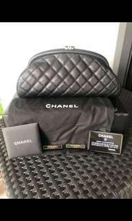 AUTHENTIC CHANEL TIMELESS CAVIER QUILTED CLUTCH BLACK