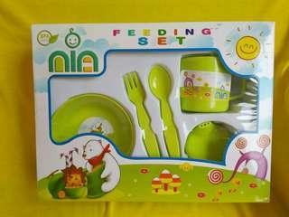Feeding set tempat makan bayi sendok gelas piring new ex kado