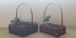 🚚 🍂Natural Wood & Rattan Weave Baskets with Long Handles
