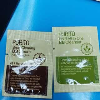 sample purito clearing BB cream spf38 PA+++ purito snail all in one bb cleanser