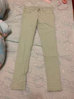 🚚 湖水綠修身窄管牛仔褲