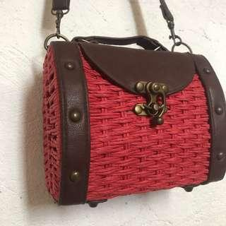 Sale! Red Rattan Bag
