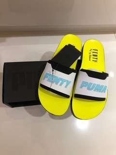 Puma Fenty Rihanna black white yellow surf slides