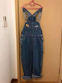 Vintage Denim Dungaree Jumpsuit Pooh Embroidered Disney