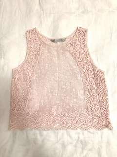 Zara lace pink top